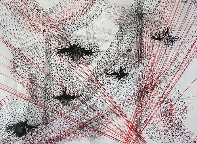 Hinke Bruinsma, z.t. o.i. inkt, acrylinkt, (kleur) potlood op papier, 29,5 x 42 cm, € 175,-