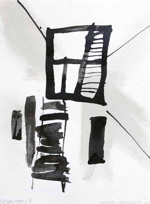 Anna van Duin, Gevangen 1, inkt en krijt op papier, 25 x 18 cm, € 200,-