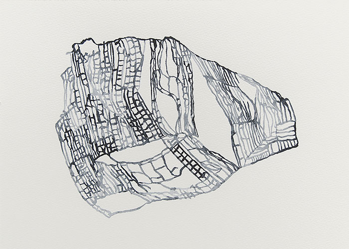 Ronald de Ceuster, Redrawn Rozet,  aquarelverf op papier, 29,7 x 42 cm, € 300,-