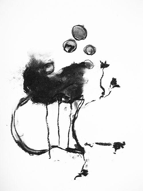 Margriet Diertens, Na de bloei, houtskool / pastel op papier, 35 x 27 cm, € 400,-