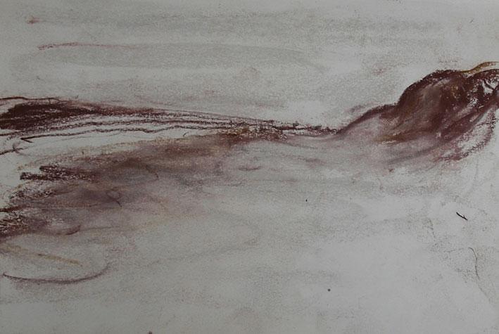 Suzanne Glerum, Zee, strand en duinen, conté op papier, 10,5 x 14,8 cm, € 200,-
