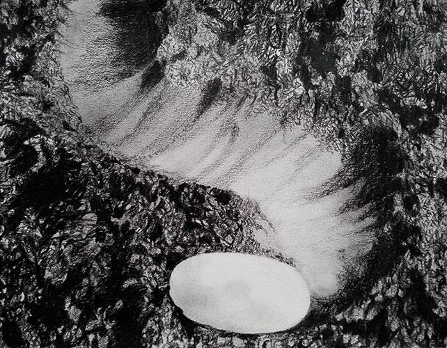 Arja Hop, Soil-Trail, Nero Koh I Noor op papier, 25 x 32,5 cm, € 580,-