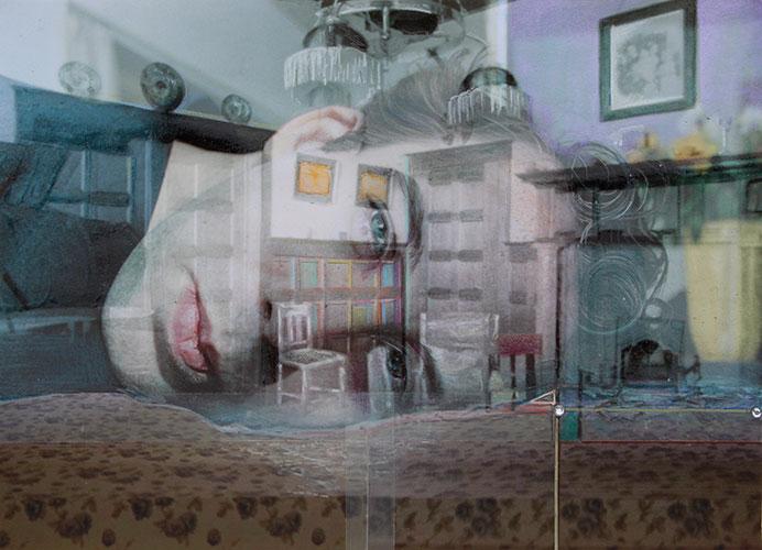 Anya Janssen, In between worlds, gemengde techniek op papier, 29 x 37 cm, € 450,-