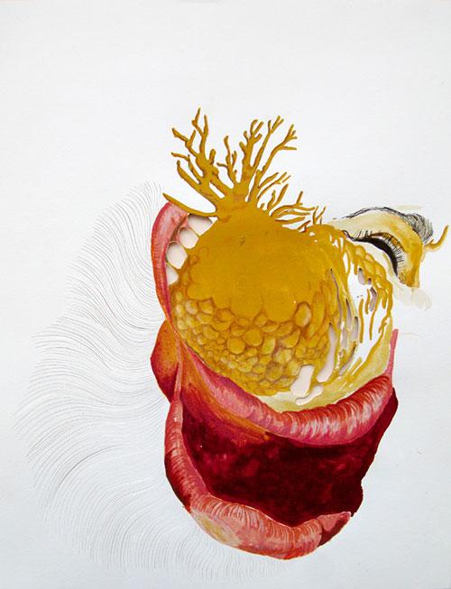 Karin Janssen, Silent Scream in the Valley of Uncanniness #150, gemengde techniek op papier, 35 x 27 cm, € 475,-