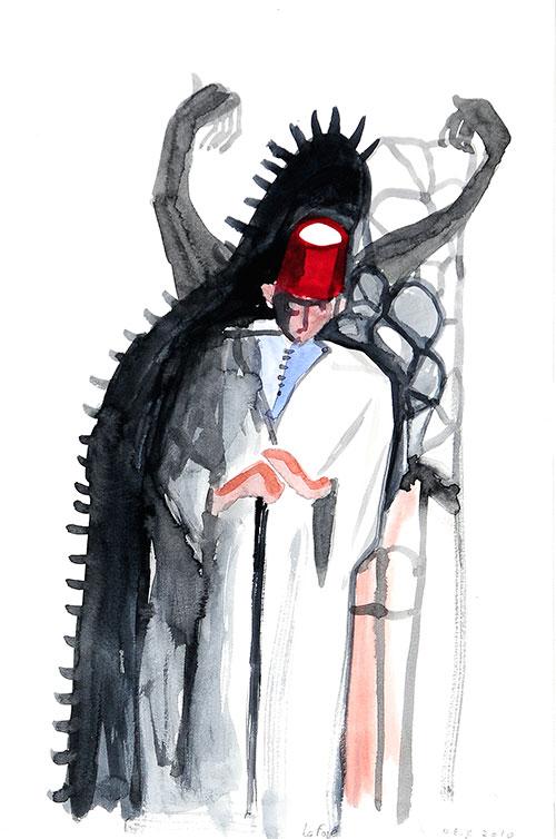 Nour-Eddine Jarram, La Foie, aquarel op papier, 35 x 25 cm, € 425,-