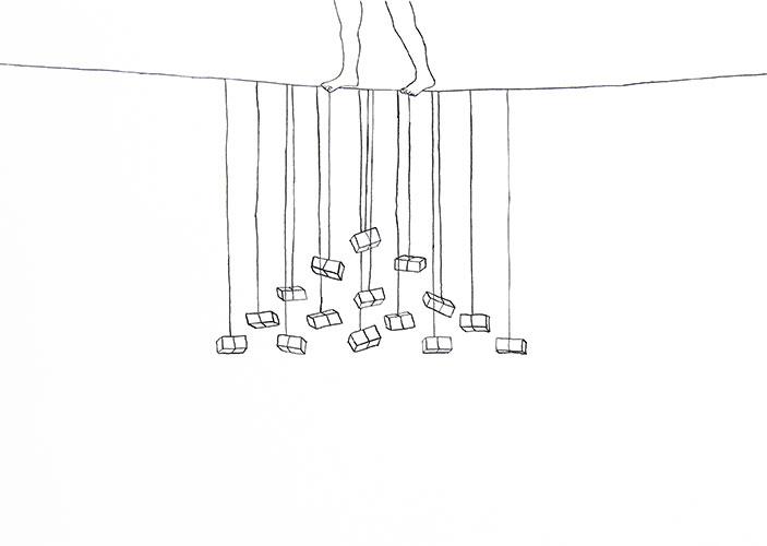 Annelinde de Jong, Balancing act #1, inkt op papier, 21 x 29,7 cm, € 380,-