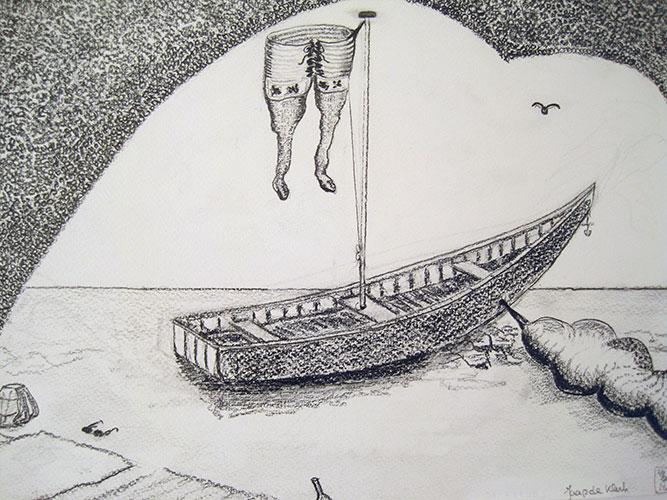 Jaap de Klerk, Boat, houtskool op papier, 24 x 33 cm, € 325,-