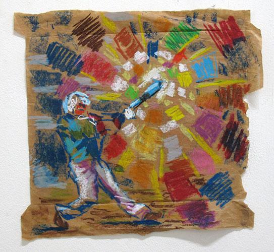 Kees Koomen, Fuck focus, oliepastel op pakpapier, 35,5 x 33 cm, € 800,-