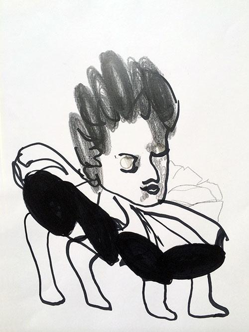 Lilian Krikhaar, Buigpijn, inkt, grafietstift, potlood op papier, 24,5 x 23 cm, € 400,-
