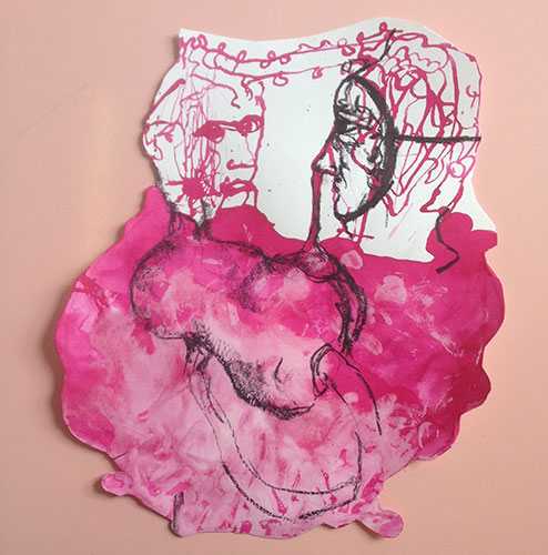Emmy Bergsma, Feeling single, seeing double, inkt, conté en pastelkrijt op papier, 38 x 28 cm, € 350,-