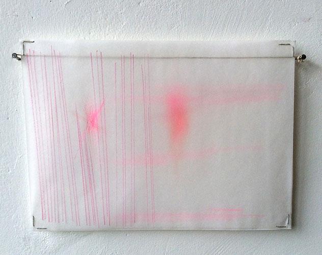 Floor Leemans, Sporen, kleurpotlood op papier + kalkpapier, 21 x 29,7 cm, € 225,-