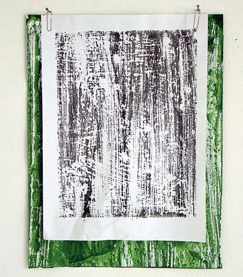 Giel Louws, z.t., monotype / papier / paperclips, 35 x 25 cm, € 350,-