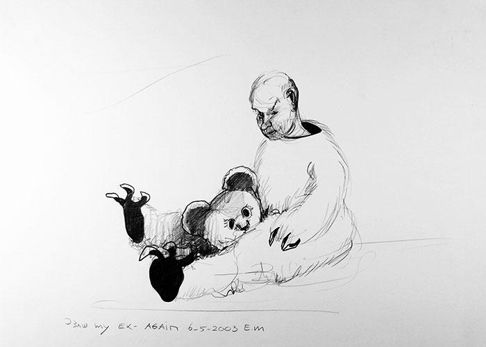 Edith Meijering, I saw my ex again, potlood op papier, 30 x 20 cm, € 495,-