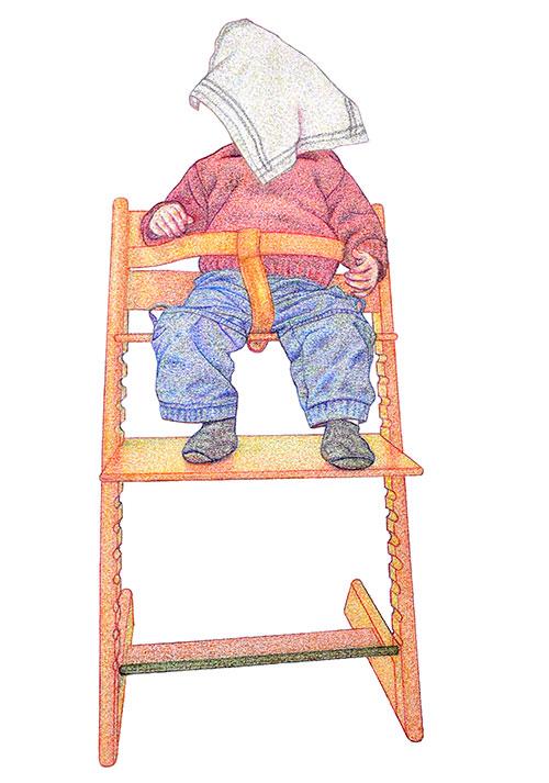 Monica Overdijk, Kiekeboe #1, kleurpotlood op papier, 37 x 26 cm, € 300,-
