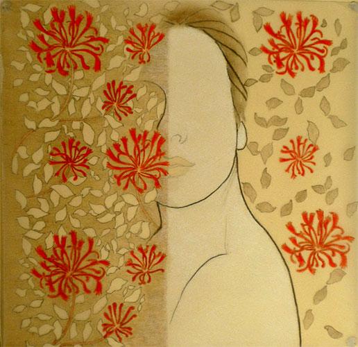 Margherita Pianarosa, z.t., krijt, kleurpotlood op transparant papier + Arches papier, 29 x 42 cm, € 300,-