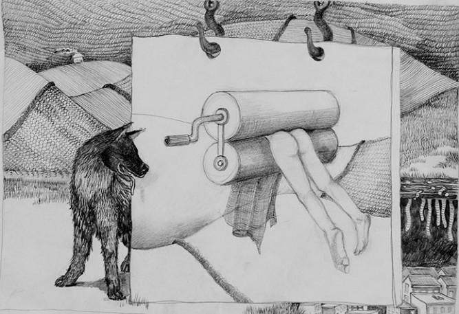Marjo van Rest, z.t., potlood op papier, 29,7 x 42 cm, € 400,-