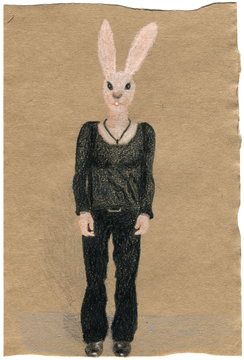 Judith Schepers, Selfportait as rabbit, potlood op papier, 20 x 13 cm, € 190,-