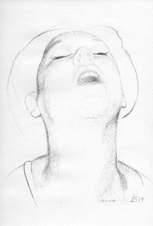 Lique Schoot, Zelfportret (Lique Erotique), ballpoint op papier, 29,7 x 20 cm, € 475,-