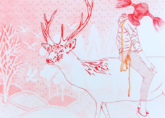 Céline Schroeder, How come you never go there?, pen en airbrush op lichtgrijs papier, 29,7 x 42 cm, € 280,-