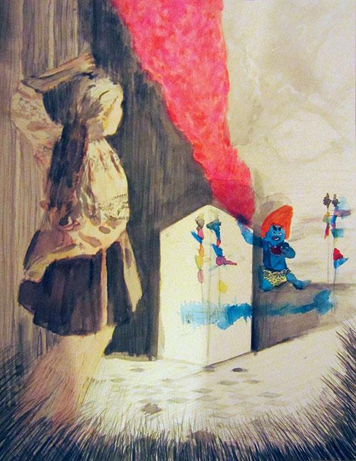 Bérénice Staiger, Girl watching magic natural force, gemengde techniek op papier, 37,5 x 28,6 cm, € 620,-