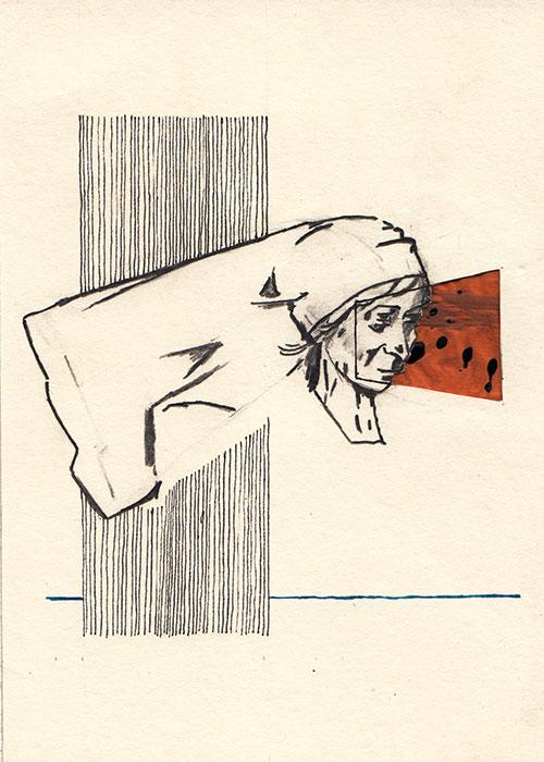 Rob Strick, z.t., potlood, fineliner, inkt en berkenschors op papier, 14 x 10 cm, € 220,-