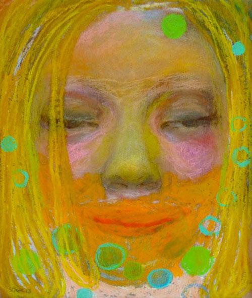 Maartje Strik, After Party - Nazomeren, soft- en oliepastel, 19,5 x 16,5 cm, €650,-