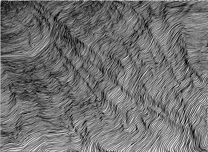 Gryanne Stunnenberg, Rimpels, 2 vertrekpunten, overgang, Oostindische inkt op papier, 15 x 20,5 cm, € 160,-