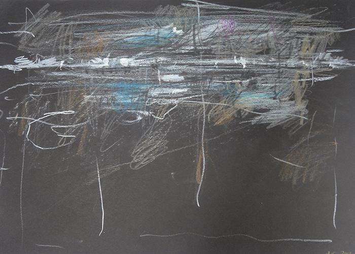 Danielle Vidal Uit de serie: Voyage au bout du jour, kleurpotlood op gekleurd papier, 21 x 29,7 cm, € 350,-