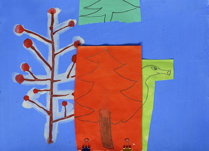 Rix Wierenga, XY, papier, acryl, potlood, 2 knijpertjes, 29,7 x 42 cm, € 625,-