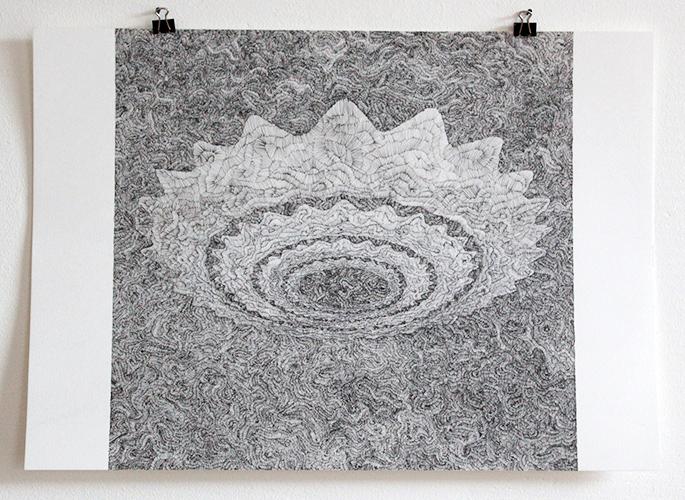 Leonard Witte, Cirkelzaag 2, pen op papier, 29,5 x 42 cm, € 700,-