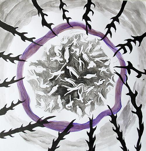 Noek Zwaan, Escape 1, potlood / inkt op papier, 30,5 x 29,5 cm, € 225,-