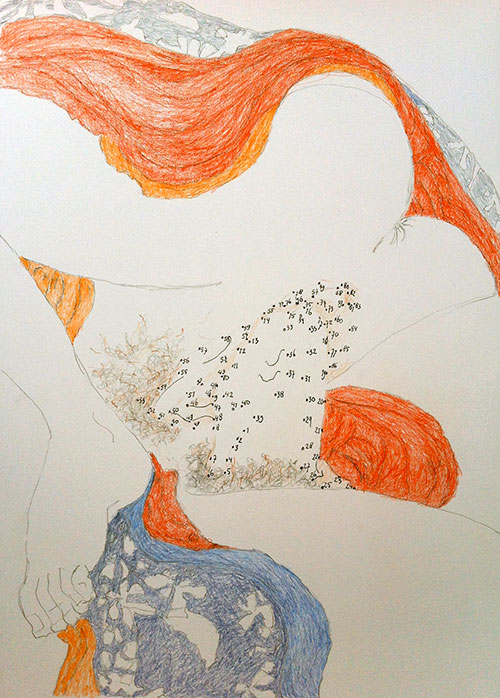 Chantal Breukers, Verbind de punten met elkaar, potlood op papier, 42 x 29,7 cm, € 200,-