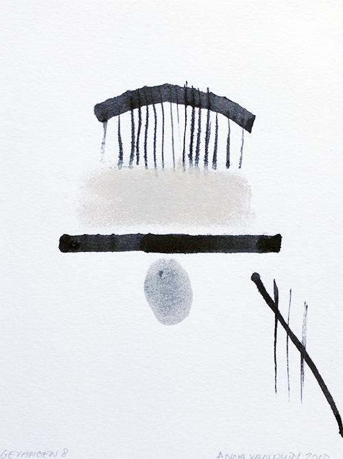 Anna van Duin, Gevangen 8, inkt en krijt op papier, 25 x 18 cm, € 200,-
