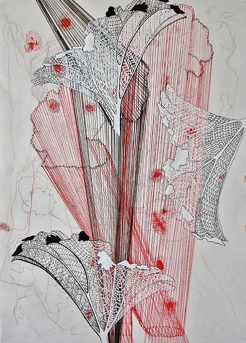 Hinke Bruinsma, z.t. o.i. inkt, acrylinkt, (kleur) potlood op papier, 42 x 29,5 cm, € 175,-