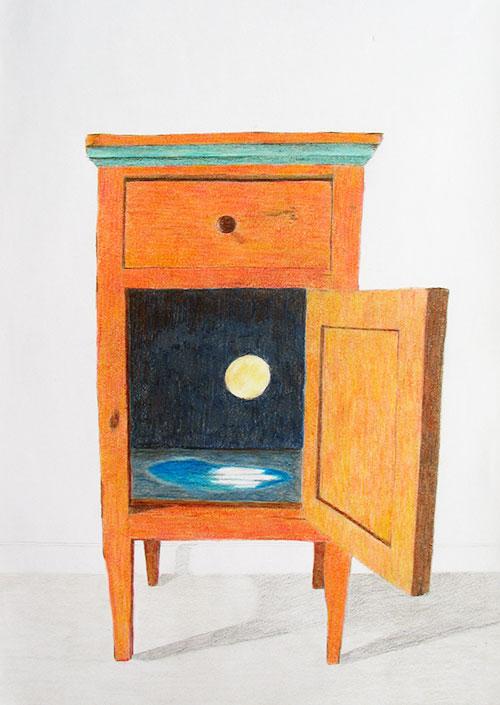 Esther van Casteren, Nachtkastje, kleurpotlood op papier, 42 x 29,7 cm, € 300,-