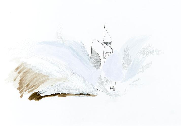 Maja Badnjevic, Growing Series #13, inkt, grafiet, marker op papier, 30 x 42 cm ,€ 495,-