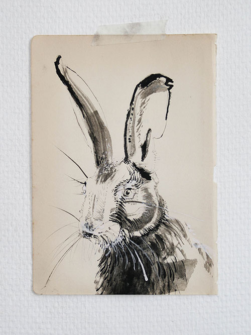 Iris Jansen, z.t., Oostindische inkt  op papier, 24,5 x 17,5 cm, € 150,-