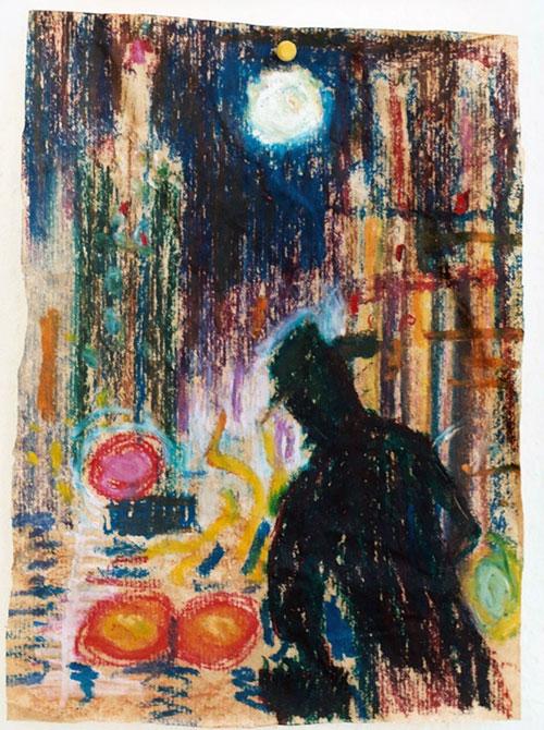 Kees Koomen, San Fransisco, oliepastel op pakpapier, 32,5 x 24 cm, € 800,-