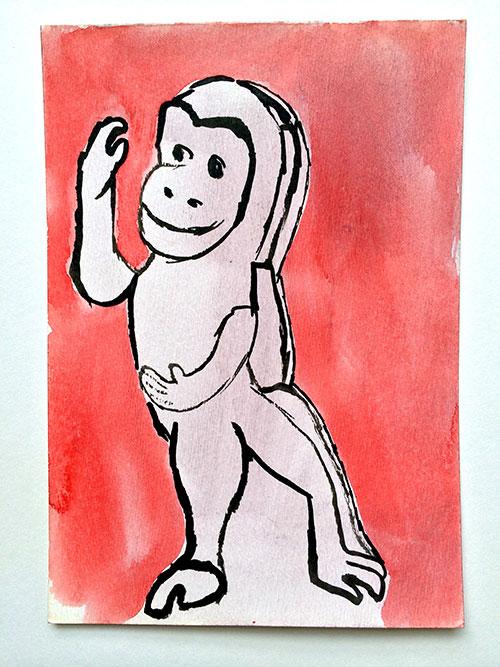 Lilian Krikhaar, Aapje, aquarel, inkt op papier, 16,5 x 11,5 cm, € 350,-