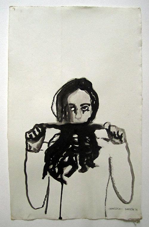 Gabrielle Kroese, Haarstrik, inkt op oud papier, 34,5 x 21,1 cm, € 375,-