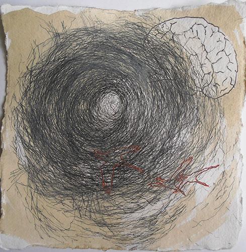Sabine Liedtke, Duurswoude 10, potlood, acryl op papier, 20 x 20 cm, € 200,-