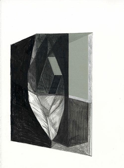 Erik-Jan Ligtvoet, Image 013AB, nego met collage op Arches 88 papier, 38 x 29 cm, € 520,-