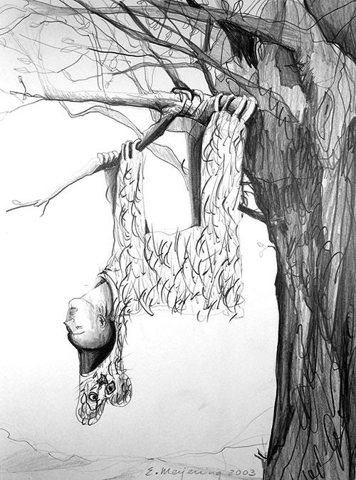 Edith Meijering, Slaapbeest, potlood op papier, 30 x 20 cm, € 495,-