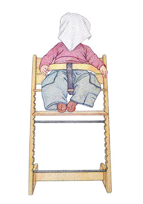 Monica Overdijk, Kiekeboe #2, kleurpotlood op papier, 37 x 26 cm, € 300,-