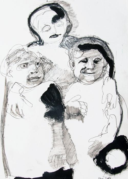 Sari Piek, Togetherness, gesso, potlood, plakkaatverf op papier, 42 x 29,7 cm, € 425,-