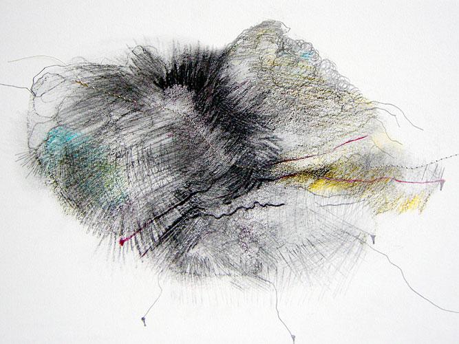 Rika Post, IJkpunten, gemengde techniek op papier, 21 x 29 cm, € 150,-