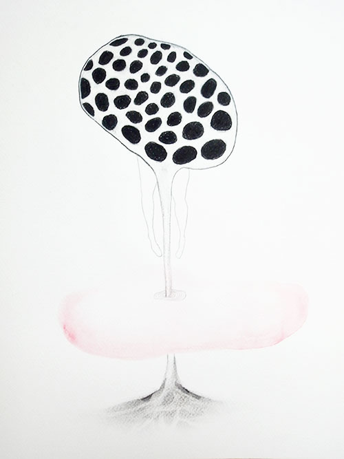 Daphne Riedijk, Oestrogen, conté, aquarel, houtskool, potlood op papier, 40 x 30 cm, € 480,-