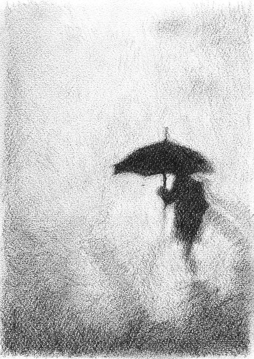 Judith Schepers, Rainy Day, potlood op papier, 21 x 15 cm, € 190,-