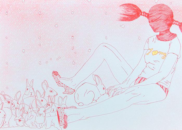 Céline Schroeder, How come I'm so alone there?, pen en airbrush op lichtgrijs papier, 29,7 x 42 cm, € 280,-