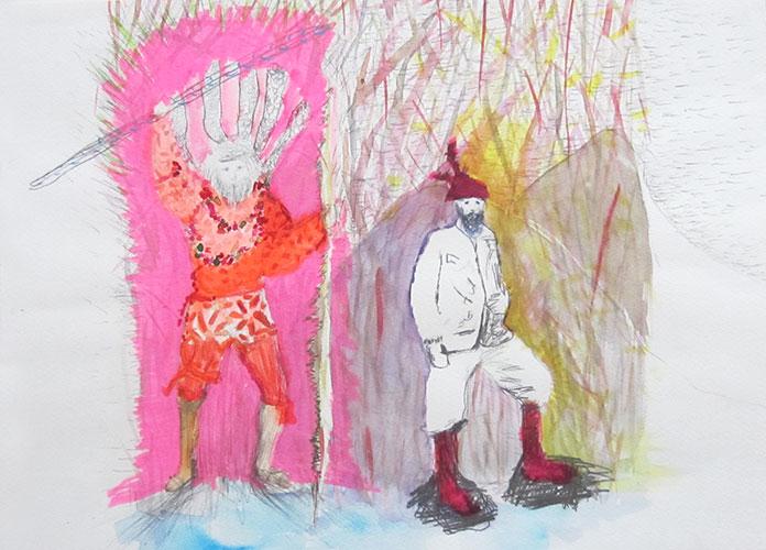 Bérénice Staiger, From the series Warrior, gemengde techniek op papier, 28,9 x 39,8 cm, € 600,-
